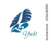 yacht icon for yachting club or ... | Shutterstock .eps vector #1036180081