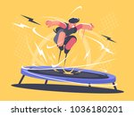 athlete jumping on trampoline.... | Shutterstock .eps vector #1036180201
