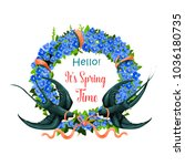 hello spring icon of floral... | Shutterstock .eps vector #1036180735