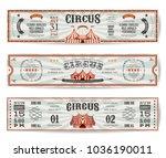 vintage circus website banners... | Shutterstock .eps vector #1036190011