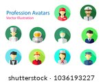 set of professions avatars icon ... | Shutterstock .eps vector #1036193227