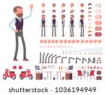 Handsome male office employee character creation set. Full length, different views, emotions, gestures. Business casual fashion. Build your own design. Cartoon flat-style infographic illustration | Shutterstock vector #1036194949