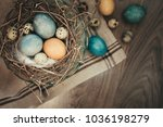 top view of rustic nest with... | Shutterstock . vector #1036198279