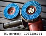 angle grinder   flap disc | Shutterstock . vector #1036206391