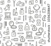 seamless pattern with cosmetics.... | Shutterstock .eps vector #1036208647