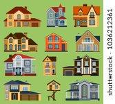 city town house vector facade... | Shutterstock .eps vector #1036212361
