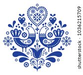 scandinavian folk art pattern... | Shutterstock .eps vector #1036215709