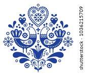 scandinavian folk art pattern... | Shutterstock .eps vector #1036215709