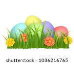 easter eggs in green grass with ... | Shutterstock .eps vector #1036216765