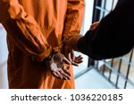 cropped image of prison officer ... | Shutterstock . vector #1036220185