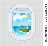 window from inside the airplane.... | Shutterstock .eps vector #1036225051
