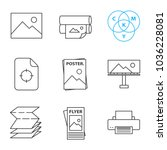 printing linear icons set.... | Shutterstock .eps vector #1036228081