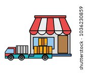 line color delivery store with... | Shutterstock .eps vector #1036230859