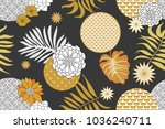 golden and silver floral... | Shutterstock .eps vector #1036240711