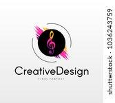 dynamic music logo.  | Shutterstock .eps vector #1036243759