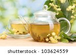 teapot and cup with linden tea