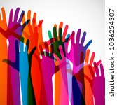 hands on a light background.... | Shutterstock . vector #1036254307