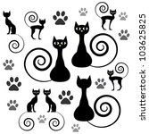 a set of black cat silhouettes | Shutterstock .eps vector #103625825