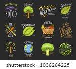 healthy organic food logos set... | Shutterstock .eps vector #1036264225