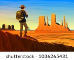 mountain and monument valley... | Shutterstock .eps vector #1036265431