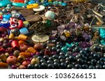pile of beads  buttons  black... | Shutterstock . vector #1036266151