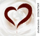 heart made of coffee  cocoa on... | Shutterstock .eps vector #1036267069