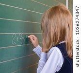 first grade pupil a girl... | Shutterstock . vector #1036274347