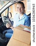 portrait of female courier in... | Shutterstock . vector #1036280965