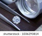 diamond with tweezers and... | Shutterstock . vector #1036293814