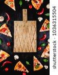 pizza slices  an empty wooden... | Shutterstock . vector #1036315504
