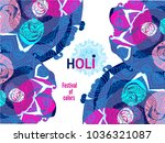 happy holi   festival of colors.... | Shutterstock .eps vector #1036321087