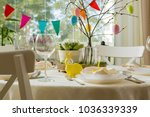 beautiful served round table... | Shutterstock . vector #1036339339