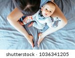 top view of barefoot mother and ... | Shutterstock . vector #1036341205