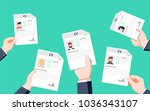 hands holding cv papers. human... | Shutterstock .eps vector #1036343107