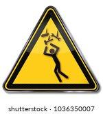 beware of possible falling... | Shutterstock . vector #1036350007