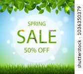 spring banner with green... | Shutterstock . vector #1036350379