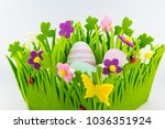 green felt basket decorated... | Shutterstock . vector #1036351924