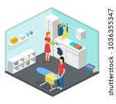 laundry or cleaning room with... | Shutterstock .eps vector #1036355347