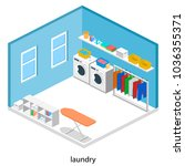 laundry or cleaning room with... | Shutterstock .eps vector #1036355371