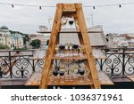 on the wooden podium in the... | Shutterstock . vector #1036371961