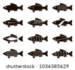 collection of black fish icon... | Shutterstock .eps vector #1036385629