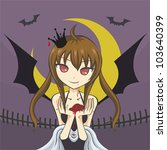 cute vampire girl devil monster ... | Shutterstock .eps vector #103640399