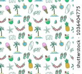 colorful of doodle summer icons ... | Shutterstock .eps vector #1036404775