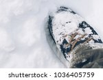 snow covered winter boots in... | Shutterstock . vector #1036405759
