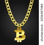 bitcoin symbol on a golden... | Shutterstock .eps vector #1036407484