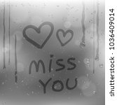 text miss you and hearts symbol ... | Shutterstock .eps vector #1036409014