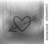 cupid arrow heart draw on rainy ... | Shutterstock .eps vector #1036409017