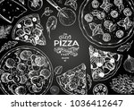 italian pizza and ingredients... | Shutterstock .eps vector #1036412647