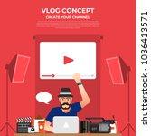 flat design vlog concept.... | Shutterstock .eps vector #1036413571