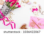pink and gold styled desk with... | Shutterstock . vector #1036422067